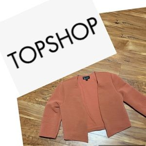 TOPSHOP Ribbed Blazer in Rust